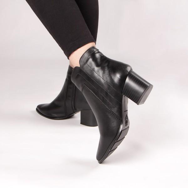 Bota Bico Fino Simona Costura Grossa Preto Salto 6 cm