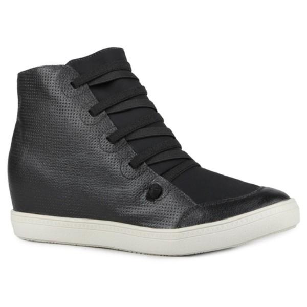 Tênis Siena Sneakers Atacador Elástico Preto Salto 4,5 Cm