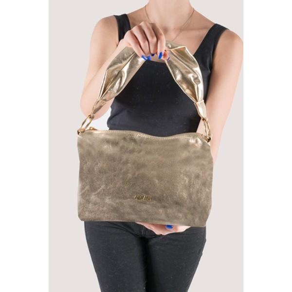 Shoulder Bag Alça Torcida Couro Ouro Light