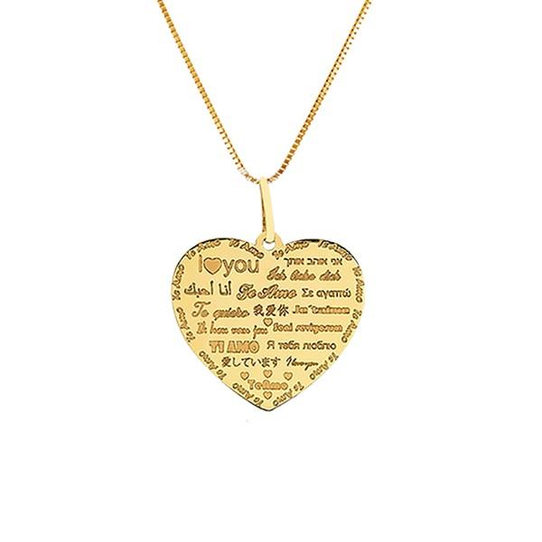Gargantilha Veneziana com Pingente Coração Te Amo em Ouro 18k
