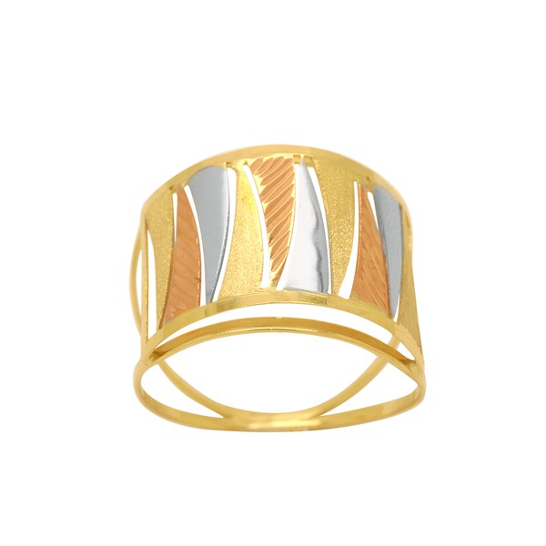 Anel Aro Duplo Tricolor em Ouro 18k