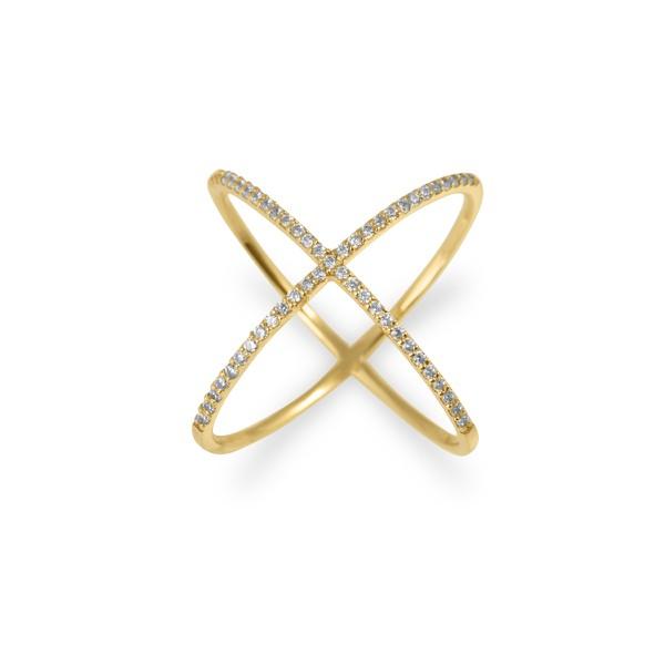 Anel X cravejado em Zircônias em Ouro 18k