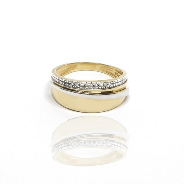 Anel Bicolor com Diamantes em ouro 18k
