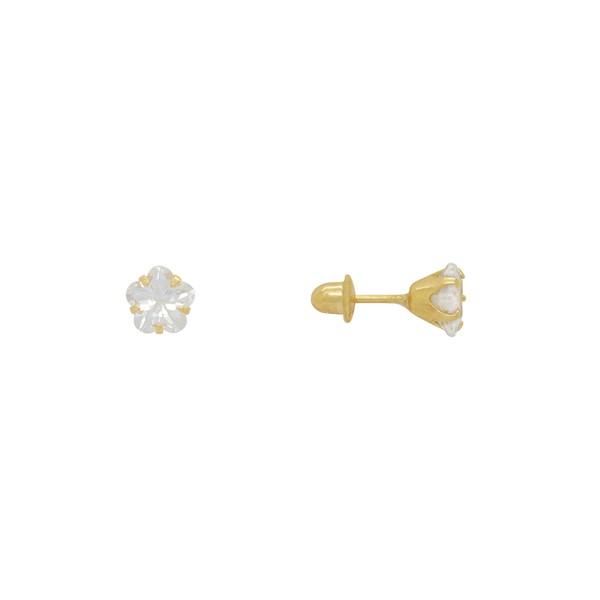 Brinco Solitário de Estrela Pedra Ouro 18k
