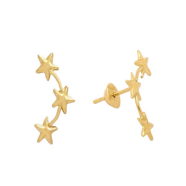 Brinco Fio 3 Estrelas em Ouro 18k