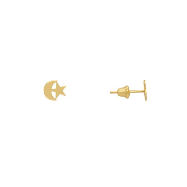 Brinco Lua e Estrela em Ouro 18k