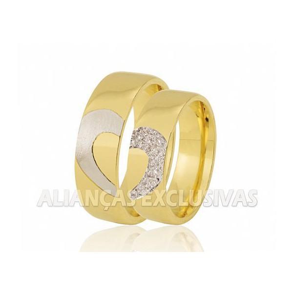 Aliança com Coração em Ouro Branco e Diamantes em Ouro 18k