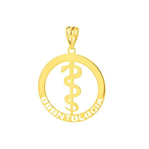 Pingente de Formatura Odontologia em Ouro 18k