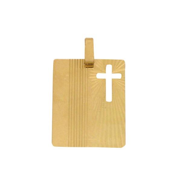 Pingente Placa Jesus em Ouro 18k