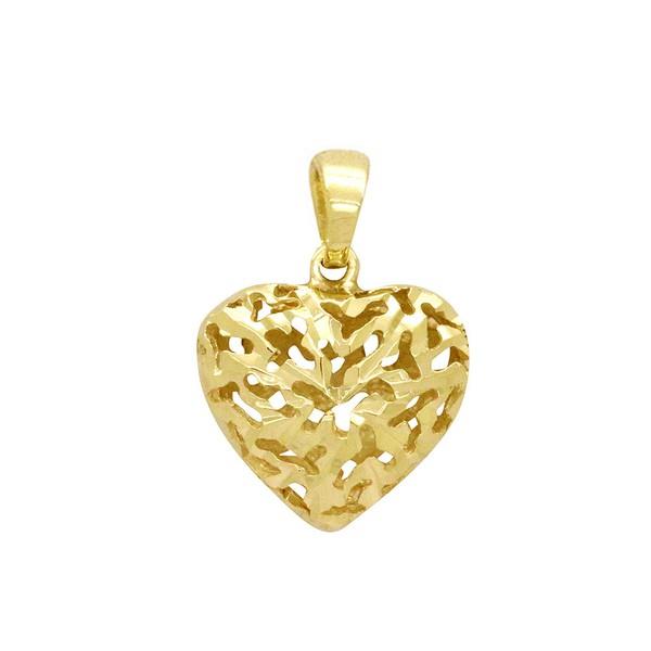 Pingente Coração Oco e Vazado em Ouro 18k