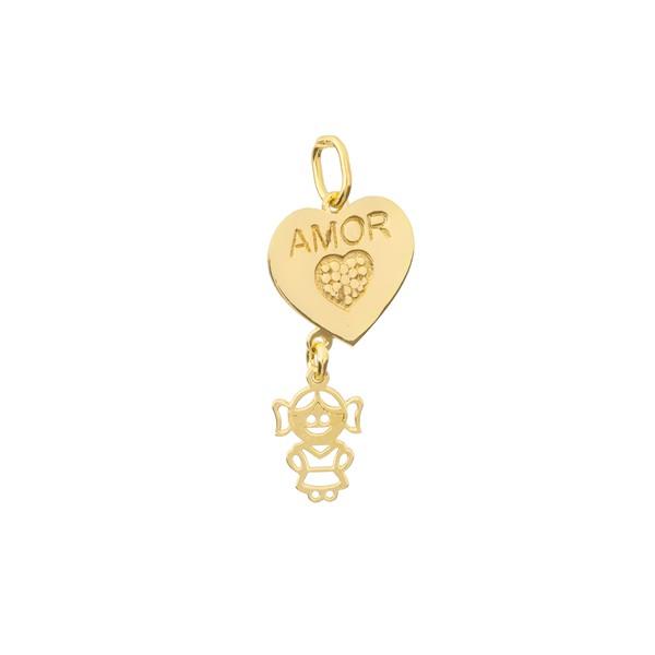 Pingente Menina com Coração Personalizado Ouro 18k