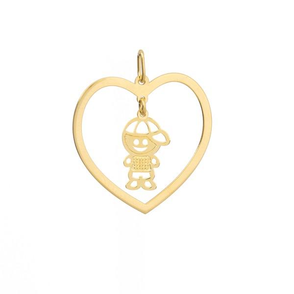 Pingente Menino com Coração Personalizado Ouro 18k