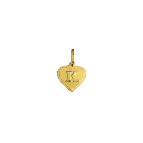 Pingente de Coração com Letra em Ouro 18k