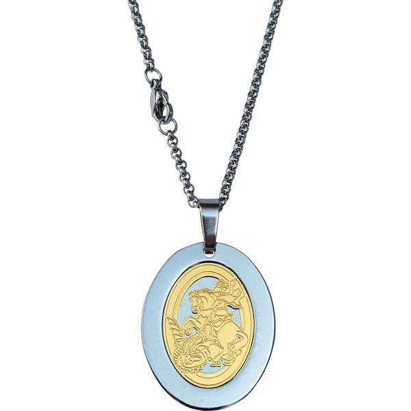 Cordão Aço Inox com Medalha Oval São Jorge