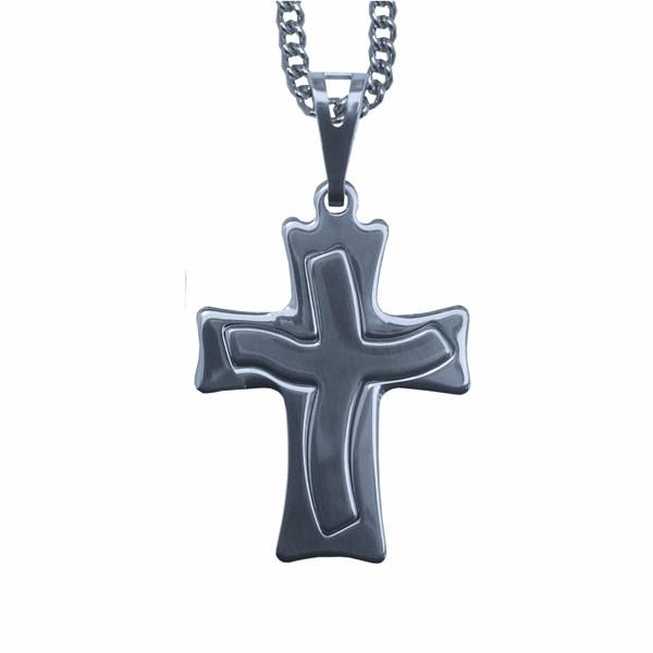 Corrente com Crucifixo de Inox Cruz Estilizada