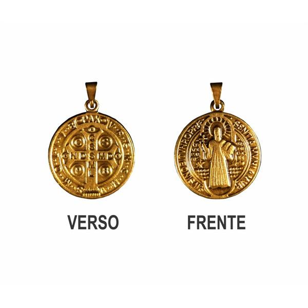 Medalha São Bento Ouro Velho Média 22mm