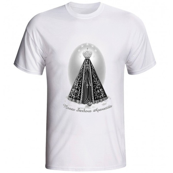 Camiseta Nossa Senhora Aparecida Preto e Branco