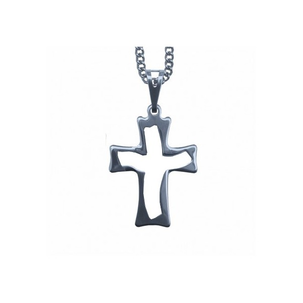 Corrente com Crucifixo Aço Inox Vazado