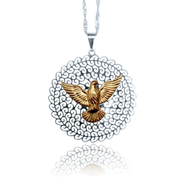 Gargantilha Folhada à Prata - Mandala Divino Espirito Santo