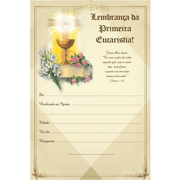 Lembrança 1ª Eucaristia Maior