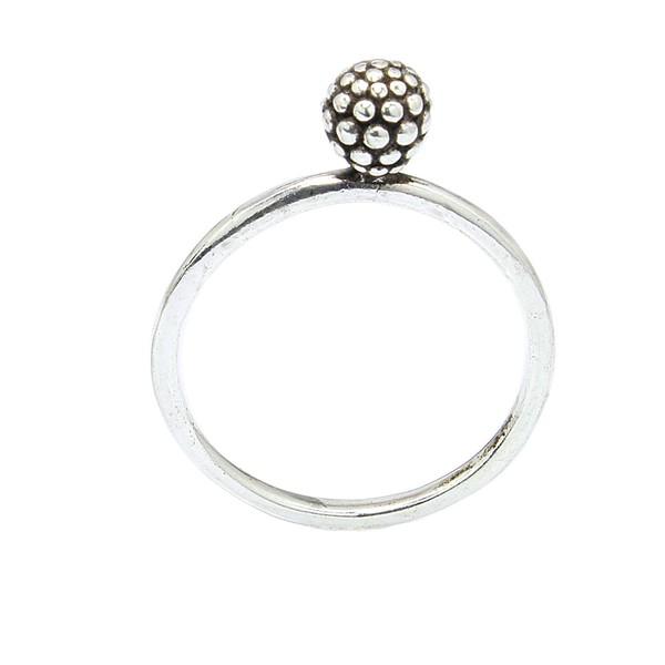 Anel Bolinha e Microesferas Prata 925 Aro Liso