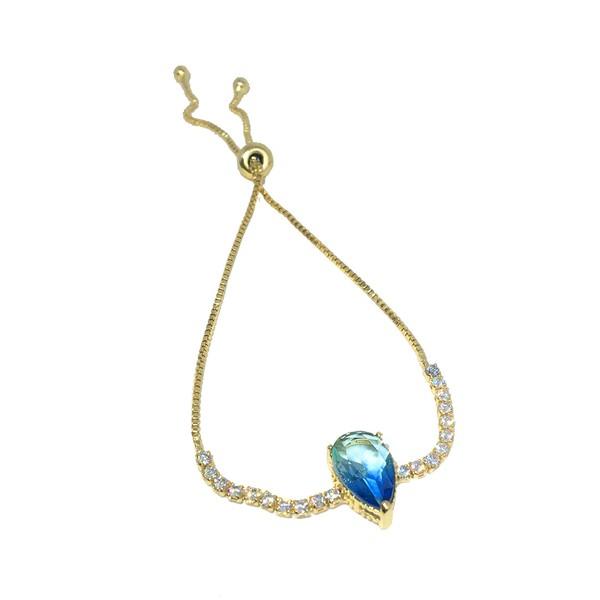 Pulseira Gota Rainbow Semijoia Banho de Ouro 18k Cristal Azul e Zircônia Branca Duo com fecho ajustável
