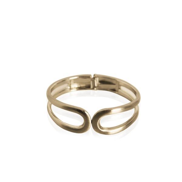 Bracelete Omega Em Aço Semijoia Banho De Ouro 18k