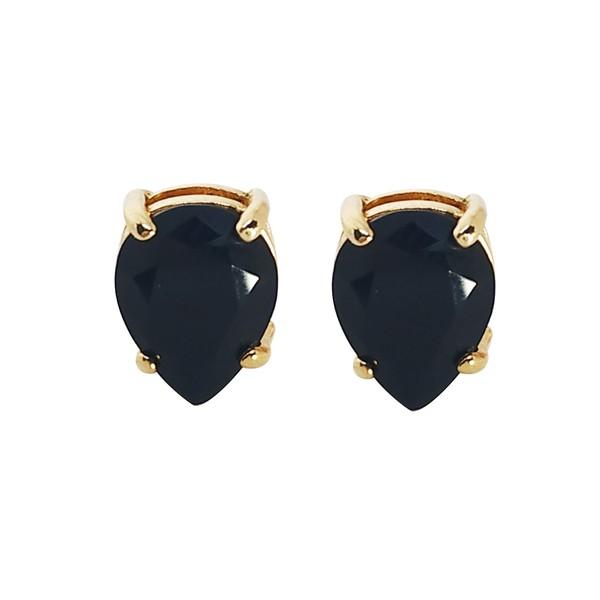 Brinco Gota Banho de Ouro 18k Cristal Negro