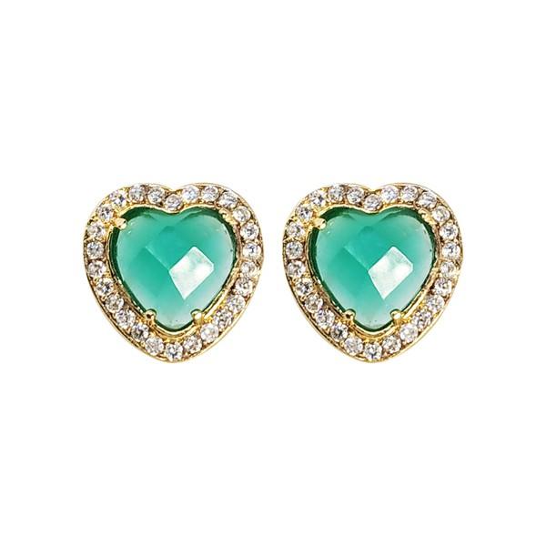 Brinco Coração Banho de Ouro 18k Cristal Verde Facetado e Zircônias