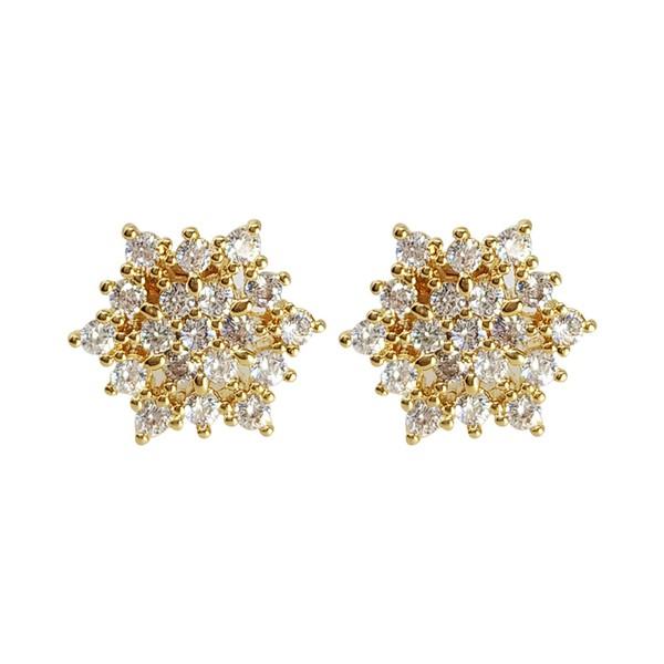 Brinco Flor Banho de Ouro 18k Cristal