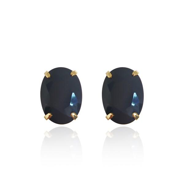 Brinco Ponto De Luz Oval Semijoia Banho De Ouro 18k Cristal Negro