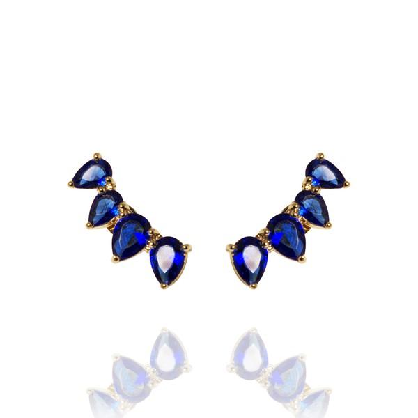 Brinco Ear Cuff Pétalas Semijoia Banho De Ouro 18k Zircônia Azul