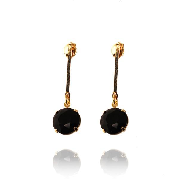 Brinco Palito Semijoia Banho De Ouro 18k Cristal Negro