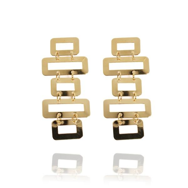 Brinco Formas Geométricas Polido Semijoia Banho De Ouro 18k