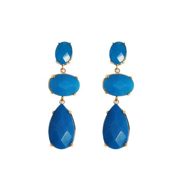 Brinco Trio de Pedras Semijoia Banho de Ouro 18K Quartzo azul Base oval