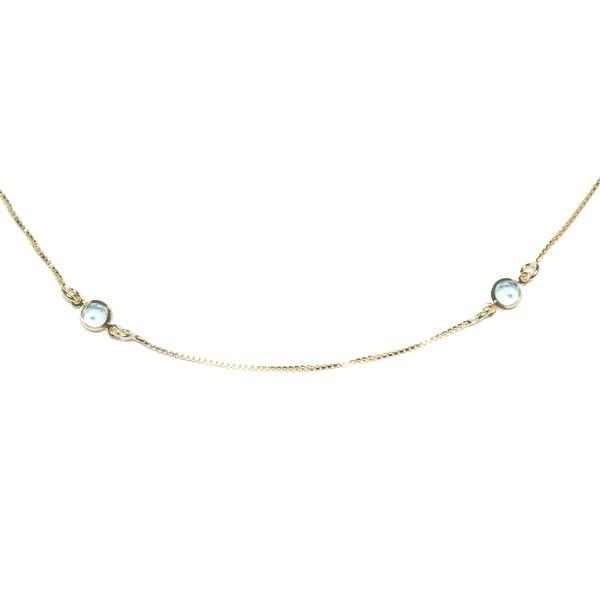 Colar Chocker Estilo Tiffany Banho de Ouro 18k Zircônia Azul Safira e Fecho Camarão