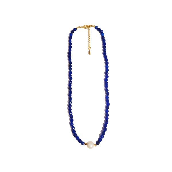 Colar Chocker Pedra Natural Semijoia Banho de Ouro 18K Ágata Azul BIC e Pérola