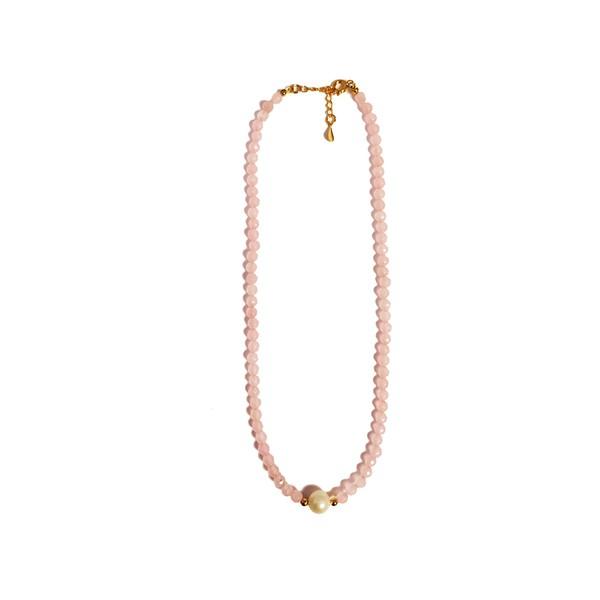 Colar Chocker Pedra Natural Semijoia Banho de Ouro 18K Quartzo Rosa e Pérola