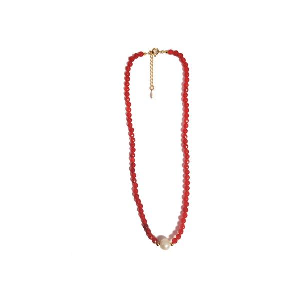 Colar Chocker Pedra Natural Semijoia Banho de Ouro 18K Ágata Vermelho e Pérola