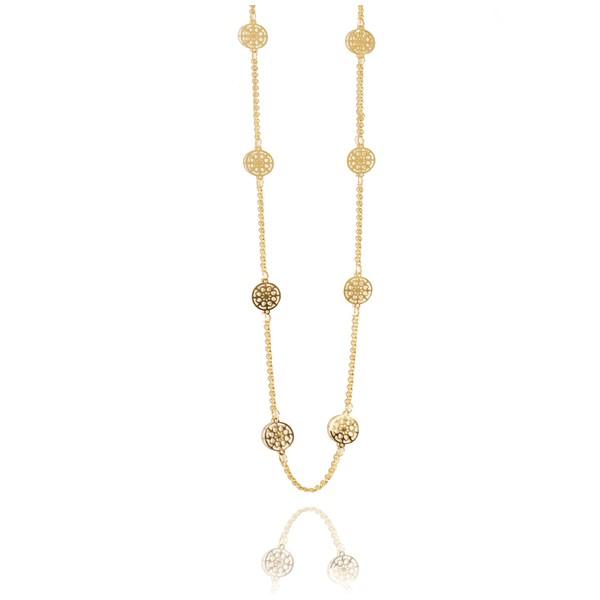 Colar Flores Mandalas Semijoia Banho De Ouro 18k