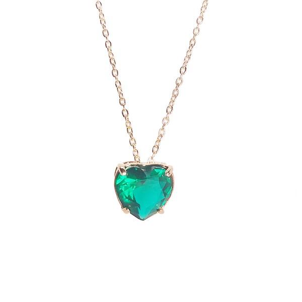 Pingente Coração Banho de Ouro 18k Cristal Verde Esmeralda com Corrente Cartier
