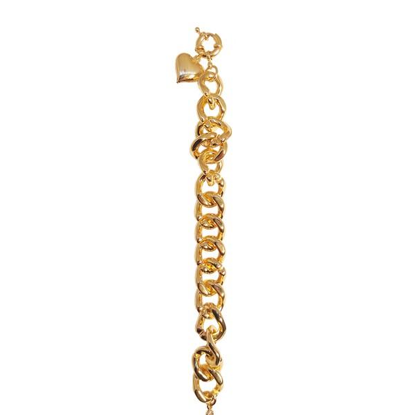 Pulseira Elos Grandes Semijoia Banho De Ouro 18k Com Fecho Bóia e Pingente Coração