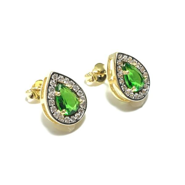Brinco Gota Pequeno Semijoia Banho de Ouro 18K Cristal Verde Esmeralda Cravação de Zircônia Detalhe em Ródio