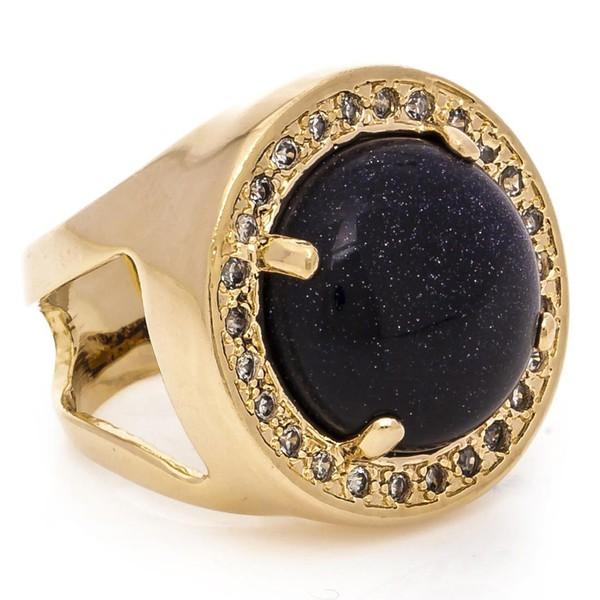Anel Redondo Semijoia Banho de Ouro 18K Pedra Natural Estrela e Cravação de Zircônias