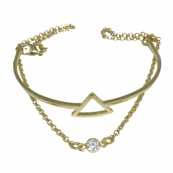 Pulseira Triângulo Semijoia Banho de Ouro 18K Ponto de Luz de Zircônia