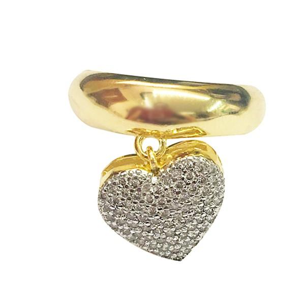 Anel Pingente de Coração Semijoia Banho de Ouro 18k com Cravação em Zircônia e Detalhe em Ródio