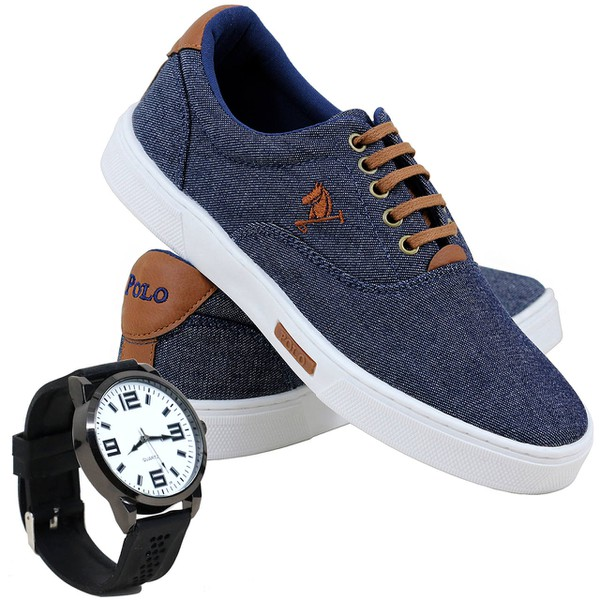 Kit Sapatênis Polo Joy em Lona Com Relógio Jeans