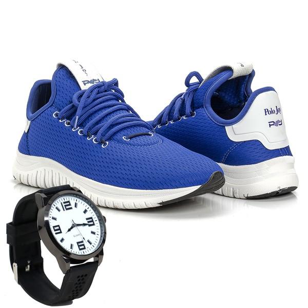Kit Tênis Masculino Polo Joy Sport Com Relógio Azul