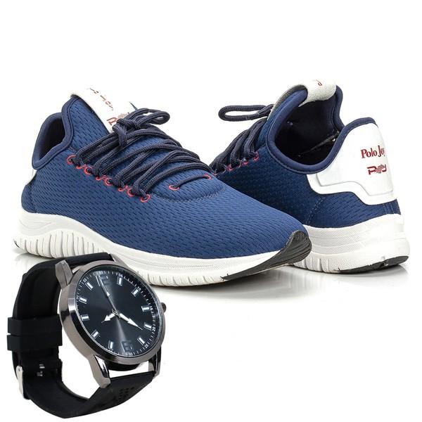Kit Tênis Masculino Polo Joy Sport Com Relógio Azul Escuro