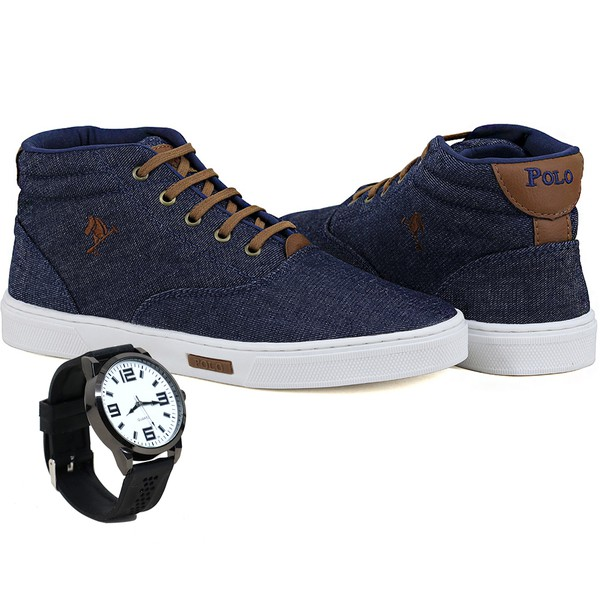 Bota Sapatênis Polo Joy Com Relógio Jeans